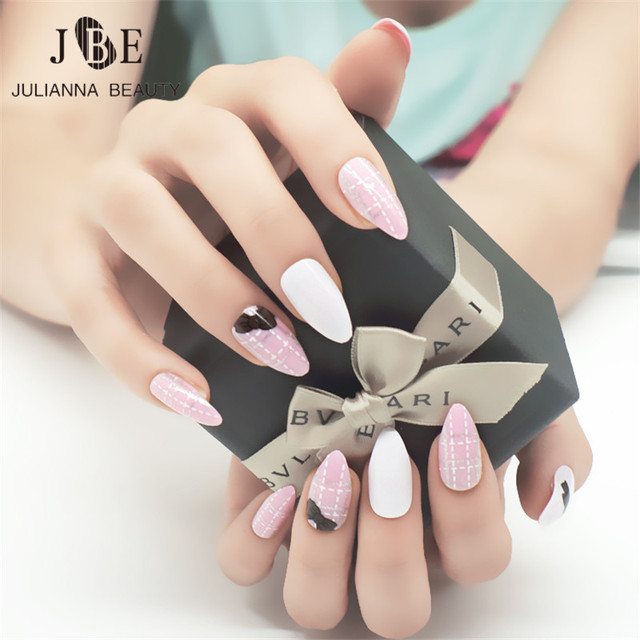 24pcs Stiletto Pointy Full Cover False Nail Tips Almond Shape Acrylic Claw Pink Cute Bow Color
