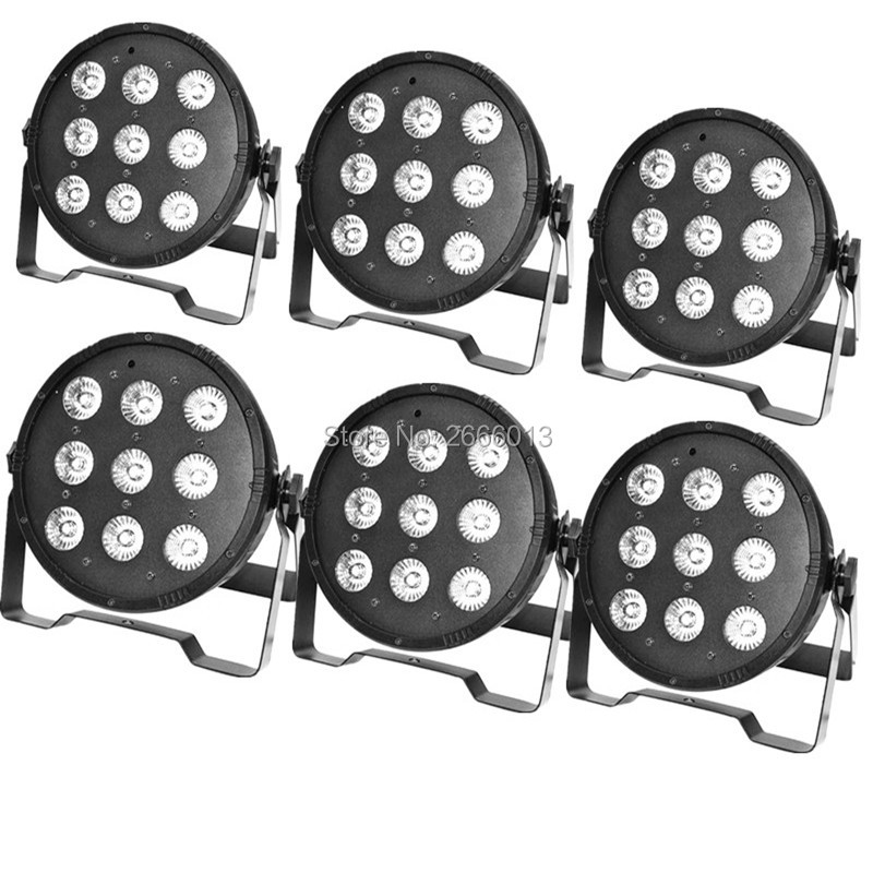 6pcs/lot 9x12W RGBW 4in1 DMX LED Flat Par Light /High Power Light With Professional For Party KTV Disco DJ/ LED Lamps Chandelier wireless remote control 2017 7x9w rgb dmx led flat par high power light with professional for party ktv disco dj