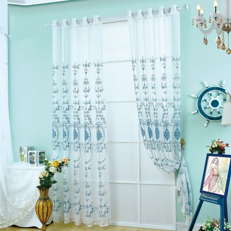 Newest Chinese Embroidery Blue Pattern Flower Curtain Polyester Curtains  For Living Room(China (Mainland