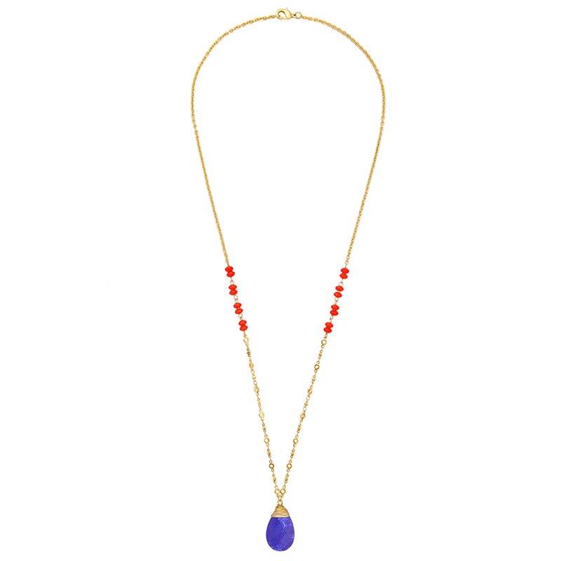 5a10261d2524 Estilo largo traje azul collar mujeres sintético piedra waterdrop  declaración de moda colgante collar