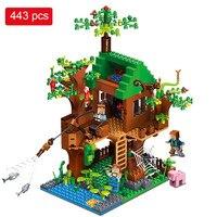 443pcs My World Building Blocks DIY Forest House Bricks Blocks Enlighten Toys For Kids Compatible With
