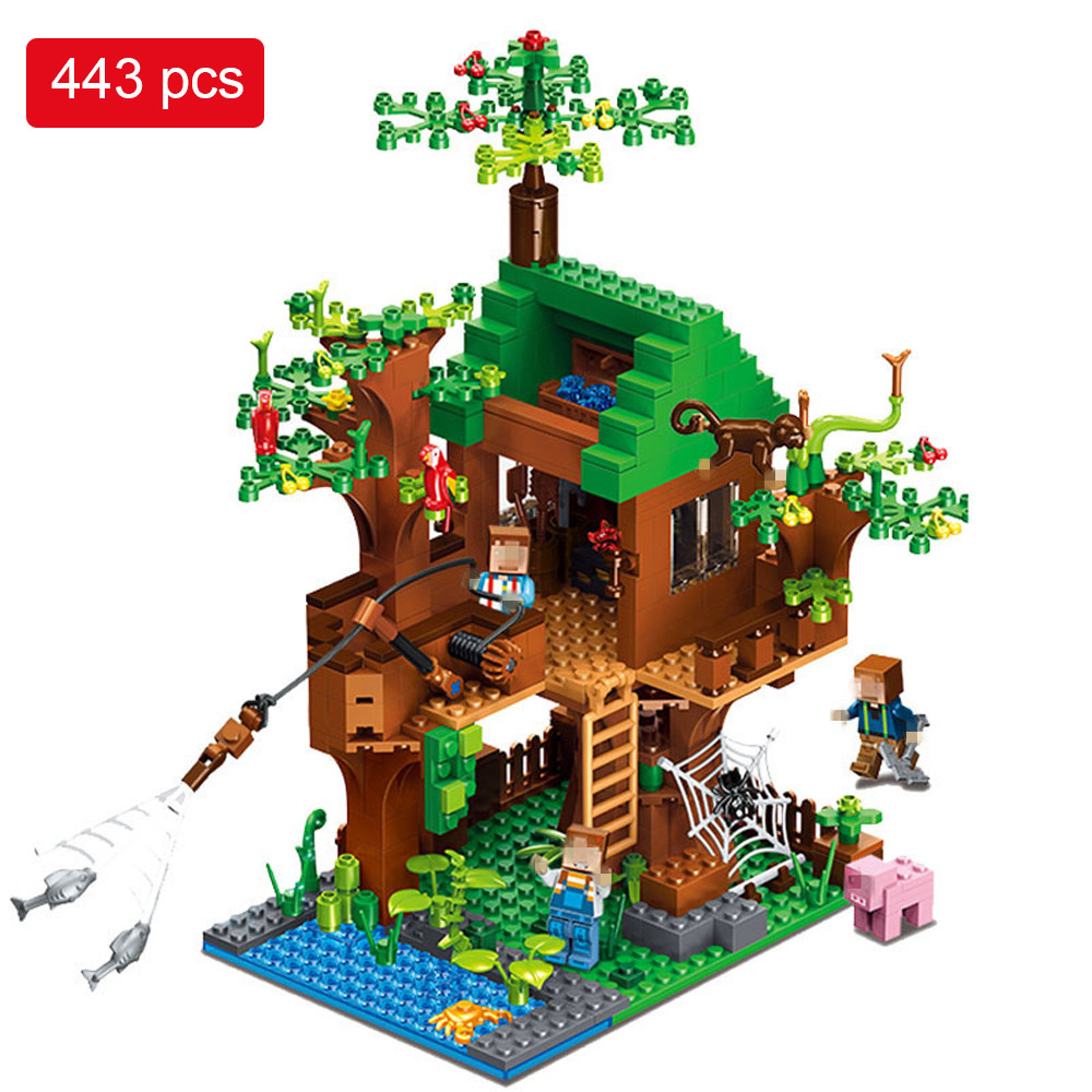 443pcs My World Building Blocks DIY Forest House Bricks Blocks Enlighten Toys For Kids Compatible with Legoed Minecrafted City 0367 sluban 678pcs city series international airport model building blocks enlighten figure toys for children compatible legoe