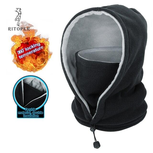 RITOPER Winter Fleece Men Women Mask Beanie Warm Thicken Hat Scarf Neck Sport Mask Outdoor Beanie Skiing Cycling Hiking Skullies