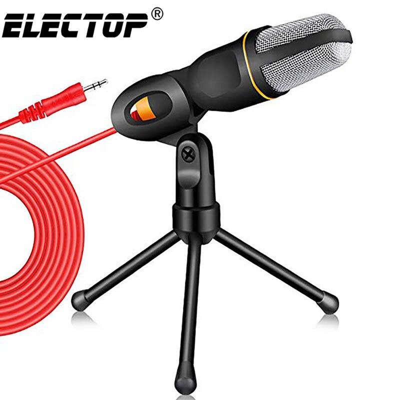 Novo microfone condensador 3.5mm plug casa microfone estéreo desktop tripé para computador youtube vídeo skype chat gaming podcast gravação