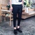 2016 Корейский Harajuku Плед Мужские Черные Брюки-Карго Случайные Модные Мужские Slim Fit Платье Мужские Jogger Брюки Комбинезоны Планета Одежда