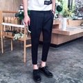 2016 de Corea Del Harajuku A Cuadros Para Hombre Pantalones Cargo Para Hombre de Moda Casual Slim Fit Vestido Negro Para Hombre Del Basculador Pantalones Overoles Ropa Planeta