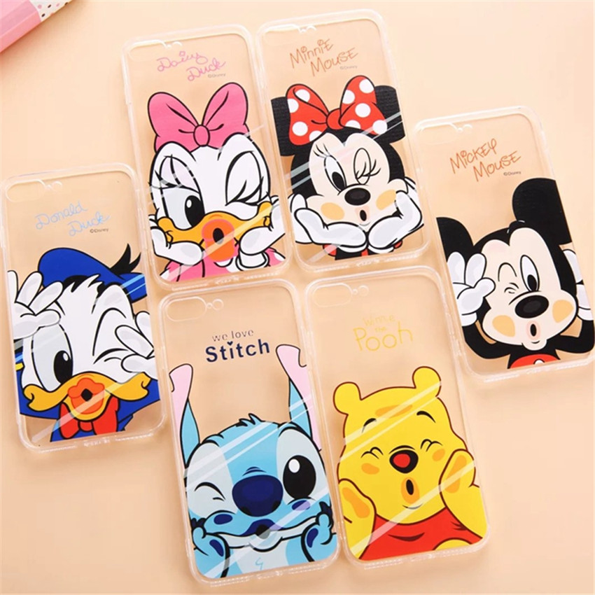 Cartoon Case Mickey Minnie Mouse Donald Daisy Duck Coque Transparent Phone Case Cover For iPhone 7 7Plus 5 5S SE 6 6S Plus 6Plus