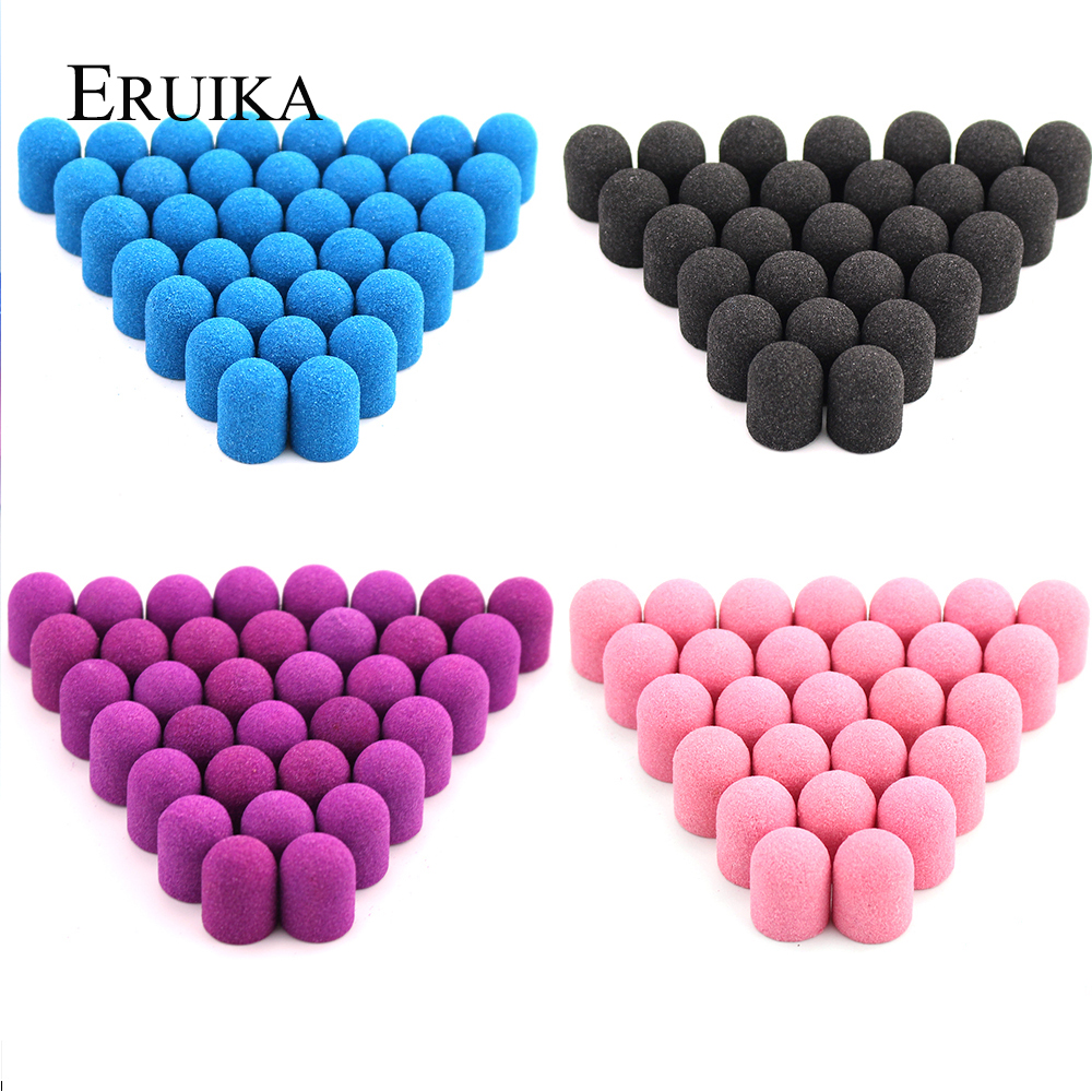 50pcs 13*19mm Blue Pink Sanding Caps Electric Milling Cutter Rotary Nail Drill Bit Rubber For Manicure Pedicure Drill Accessory