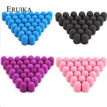 Bouchons de ponçage pour fraise électrique rotative, 13x19 mm, 50 pièces, clou en caoutchouc pour manucure pédicure, bleu, rose, accessoire de perceuse