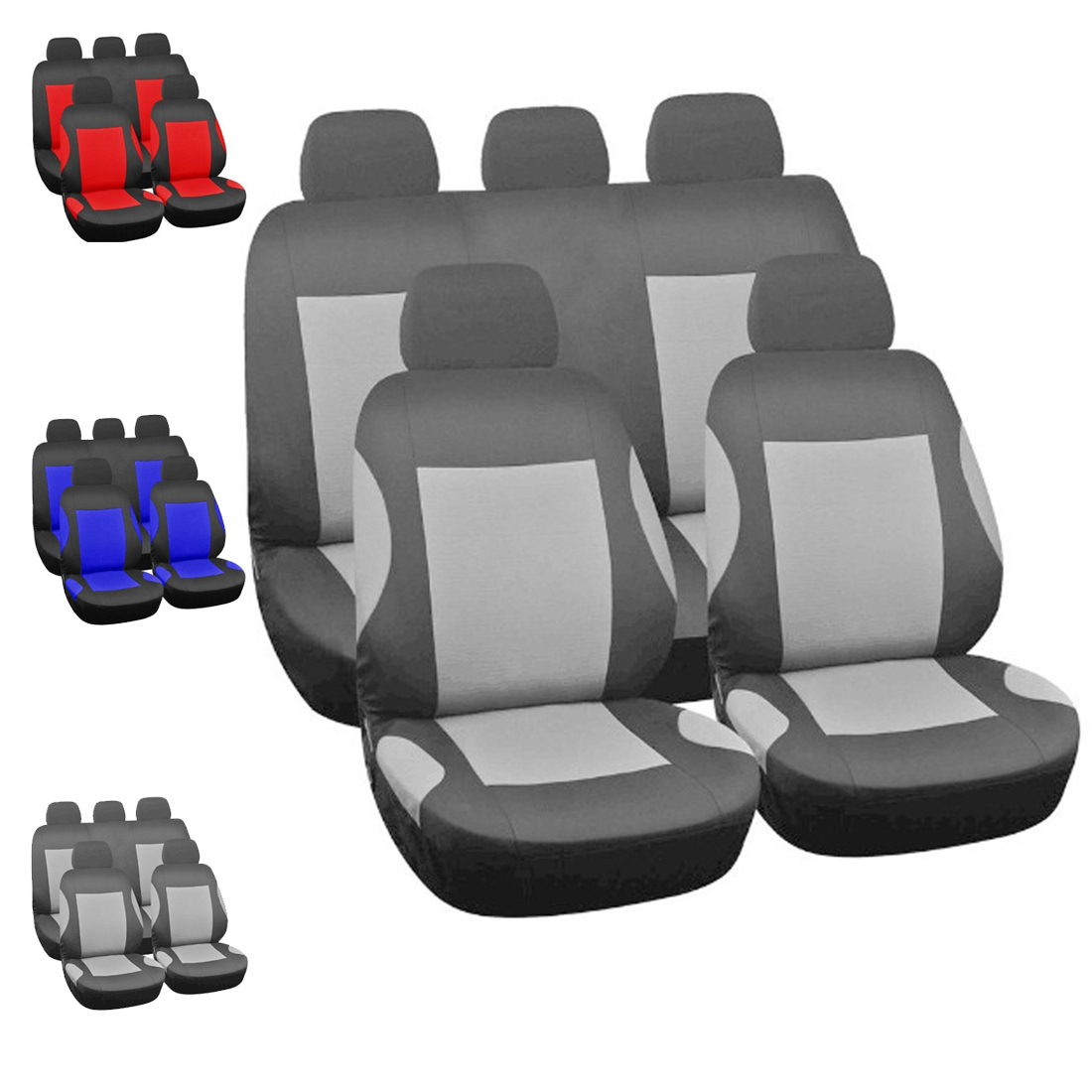 Dewtreetali Universal Full Seat Automoblies Seat Cover Polyester Car Seat Covers Protector Blue Gray font b
