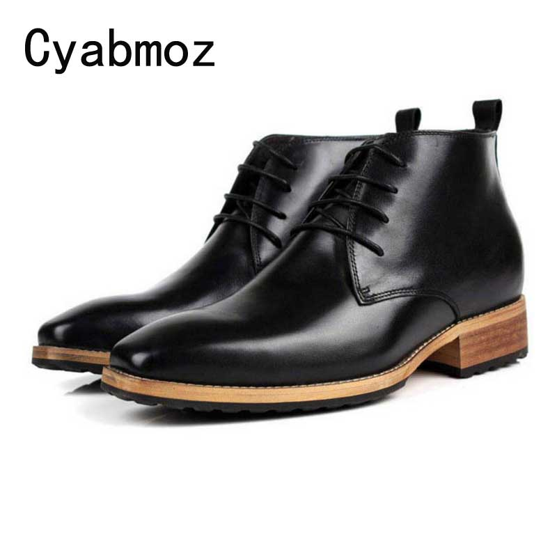Cyabmoz New Ankle Boots Men's Genuine Leather Formal Dress Shoes Men Invisible Elevator Height Increase 7cm Lace-up Boot Laarzen