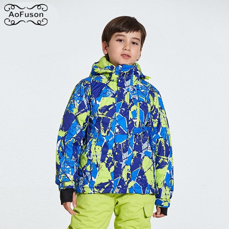 все цены на Snowboard Ski Kids Jacket Warm Breathable Waterproof Winter Snow Skiing Boys Girls Coats Hiking Children's Ski Wear Hooded