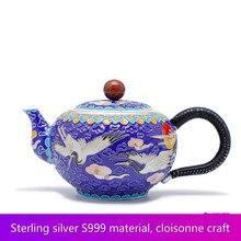 Cloisonne  Pine Crane Yannian Silver Teaware 999 Suit Of Handmade Silver Enamel Color Teapot Silver Cup Kung fu Tea set cloisonne hand painted enamel color european