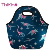 Thikin Cartoon Dinosaur Lunch Bag For Women Cute Pink Printing Thermal Lunchbox Travel Lancheira Kids Girl Cooler Food