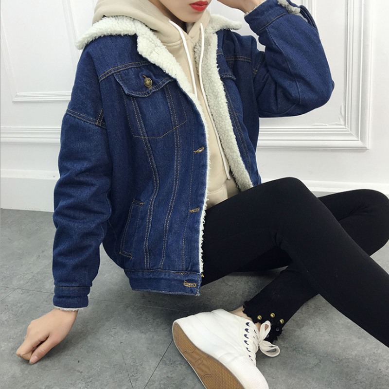 Autumn Winter Female Denim   Basic     Jackets   2019 Lambswool Women Warm Jeans Coat Long Sleeves Jeans Coat Outwear Wide Denim   Jacket