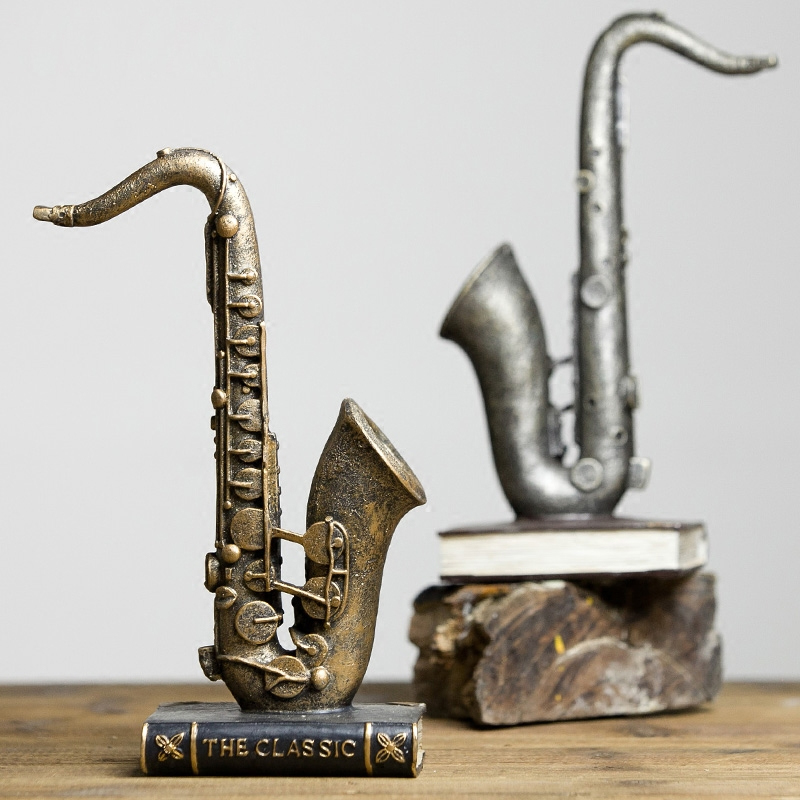 Vintage home decoration ornaments music decoration modern room decoration saxophone violin instrument resin figurine decor in Figurines Miniatures from Home Garden