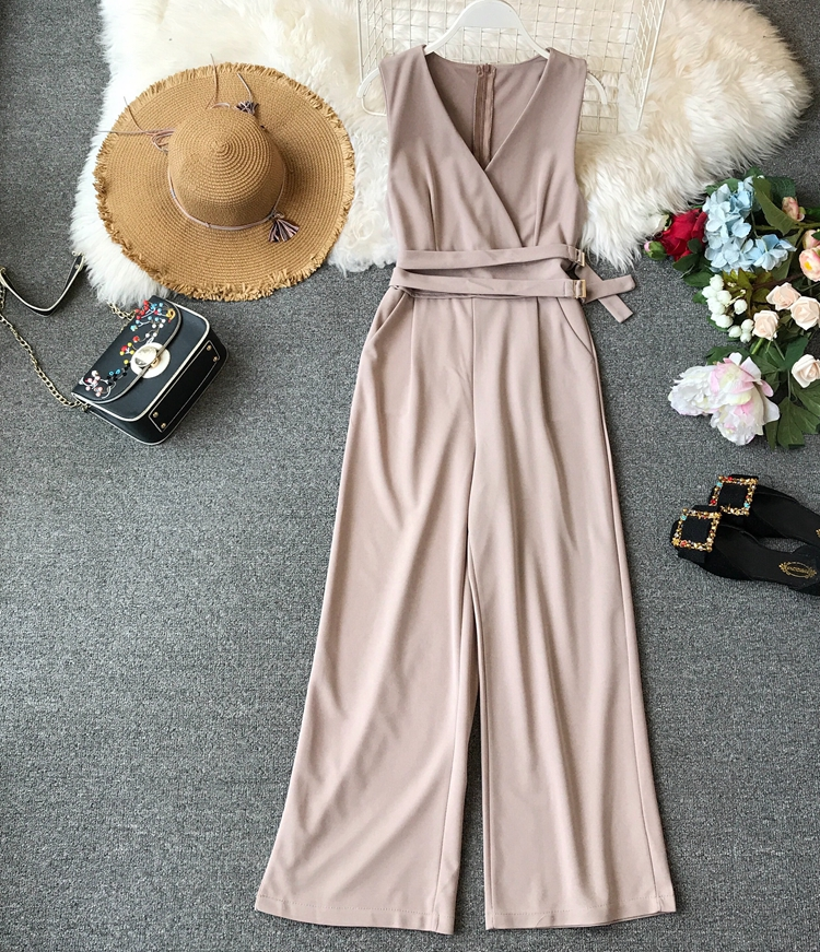 ALPHALMODA 2019 Spring Ladies Sleeveless Solid Jumpsuits V-neck High Waist Sashes Women Casual Wide Leg Rompers 28