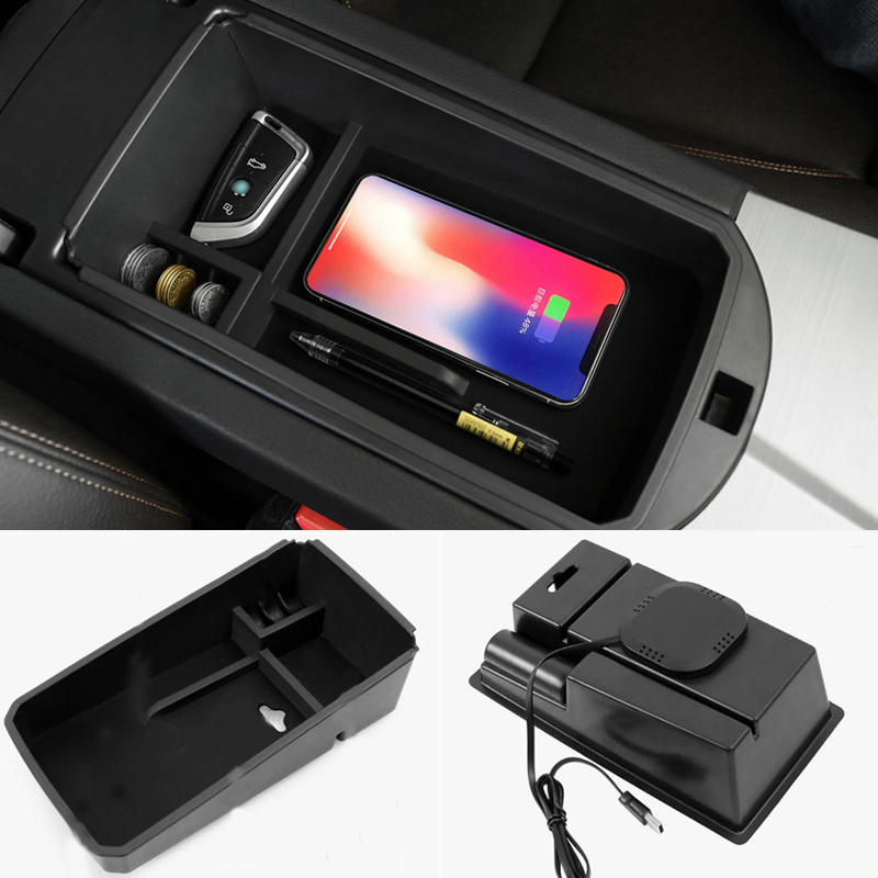 Mobile Phone Wireless Charging Central Armrest Storage Box For 2014-2017 BMW X3 F25 / 2014-2018 BMW X4 F26 F30 F31 F20 F21 F15