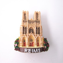 France Fridge Magnet Reims Cathedral Church World Travel Souvenir 3D Resin Refrigerator Magnetic Sticker Decoration Accessories