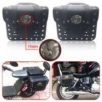 1 Pair Black Motorcycle Saddle Bags PU Leather Universal Bike Side Tool Bag Moto Luggage Saddlebags for Harley Motorbike Bags