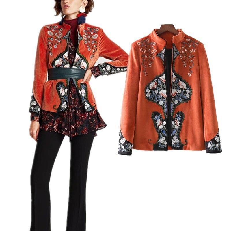 Veste femme velours orange