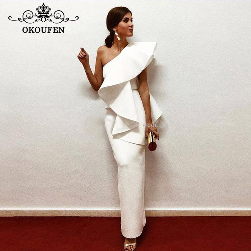 Elegant White Satin   Evening     Dress   With Ruffles One Shoulder Ankle Length Back Split Long Saudi Arabic Prom   Dresses   Party Gown
