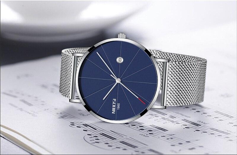 NIBOSI Mens Watch Top Ultra Thin Blue Minimalist Men Watches Stainless Steel Man Wrist Watches reloj hombre 2019 (5)