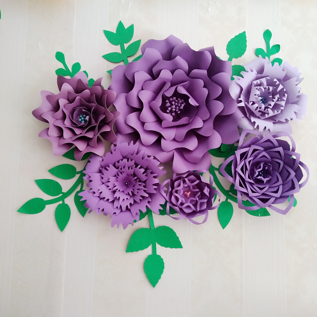 Us 36 75 25 Off Ready Giant Paper Rose Flower Templates With Tutorial For Wedding Backdrop Baby Nursery Fashion Trade Show With Leaves In Artificial
