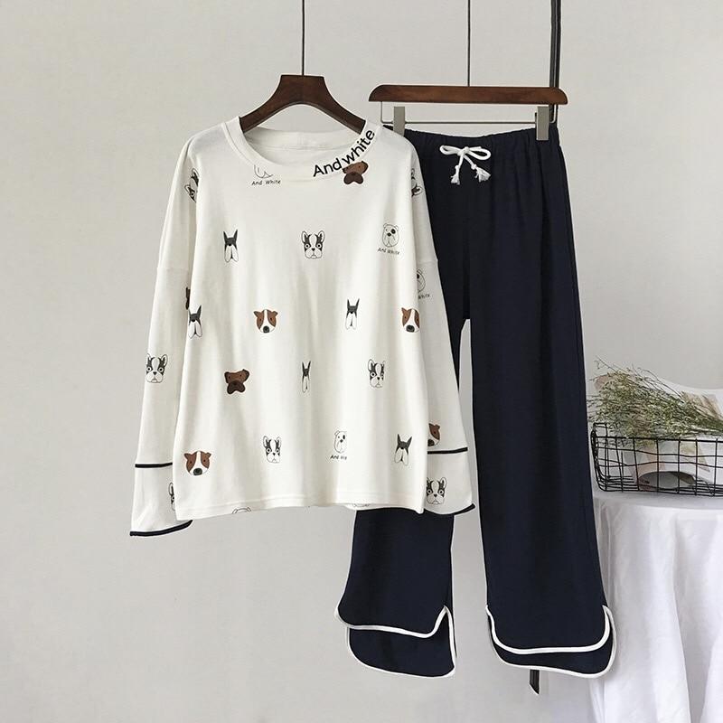 New 100% Cotton Long Sleeved Ladies Pajamas Set Pyjamas for Women Pijama Mujer Cartoon Dog Print Sleepwear Homewear NightgownPajama Sets   -
