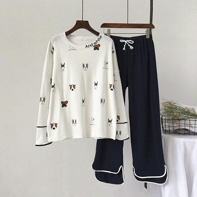 New 100% Cotton Long Sleeved Ladies Pajamas Set Pyjamas for Women Pijama Mujer Cartoon Dog Print Sleepwear Homewear Nightgown