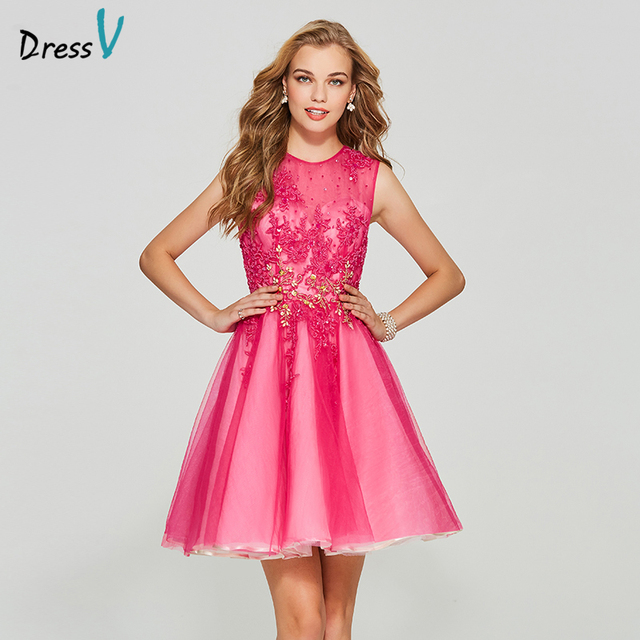 b29872522c401 Dressv pink short homecoming dress scoop neck ball gown cheap zipper up  sleeveless appliques homecoming&graduation dresses