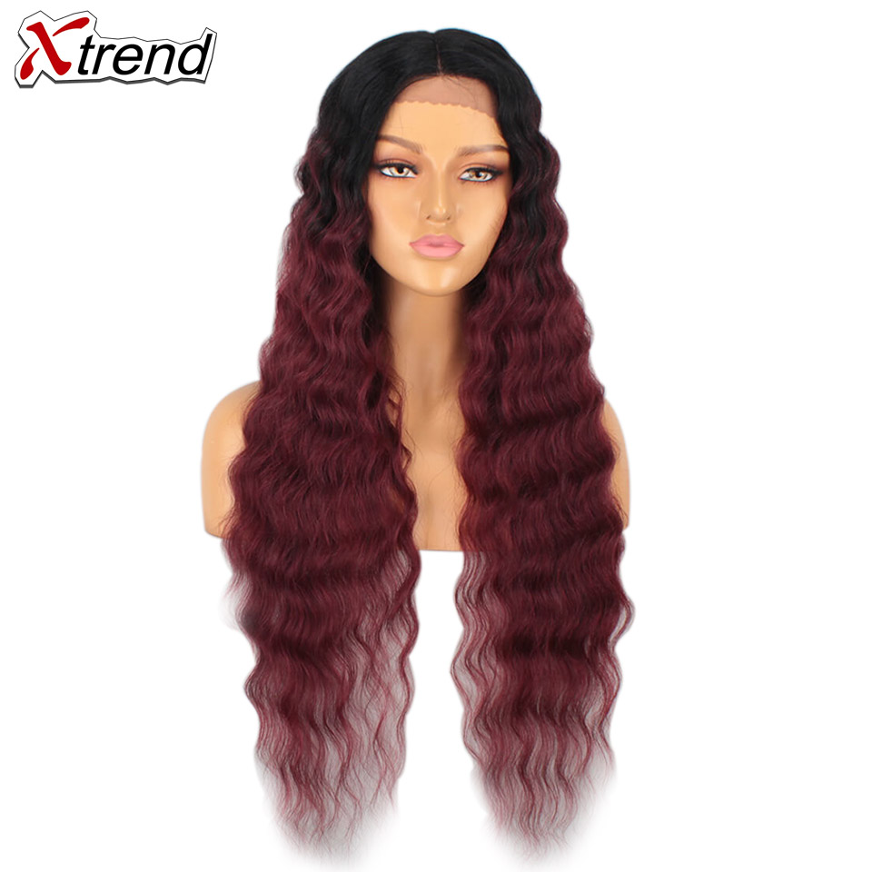 Xtrend Synthetic Loose Wave Wigs Lace Front Wig Ombre Red For Black Women 30 Inch Long Lacefront