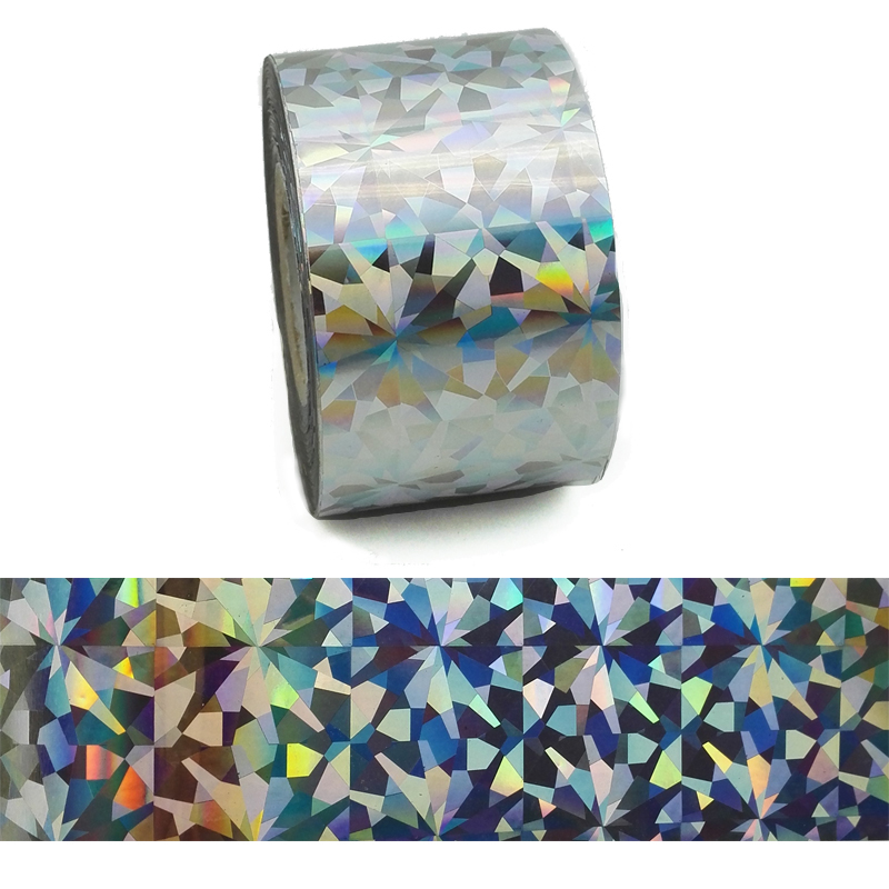 1Roll 120M*4CM Holographic Nail Transfer Foils Laser Silver Diamond Nail Art Stickers Manicure Water Transfer Foils Nail Tips 120m 4cm 1 roll holo nail transfer foils laser red fine sand nails art transfer stickers manicure nail art decorations tips