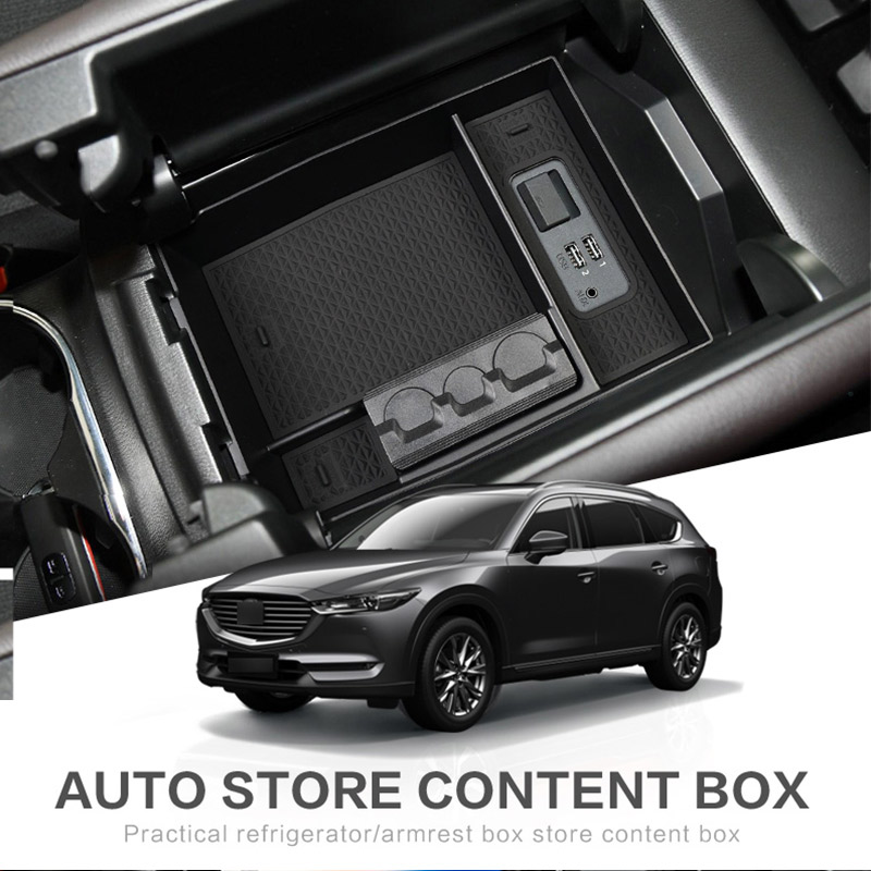 For <font><b>MAZDA</b></font> CX-8 CX-9 2016 - <font><b>2019</b></font> CX8 <font><b>CX9</b></font> Car Central Armrest Box Stowing Tidying Center Console Organizer Tray Car Accessories image