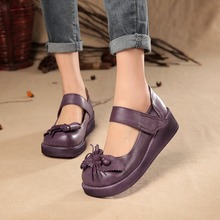 2017 Retro Style Women Shoes Flats Platform Handmade Flower Genuine Leather Thick Heels Round Toe Women Causal Shoes