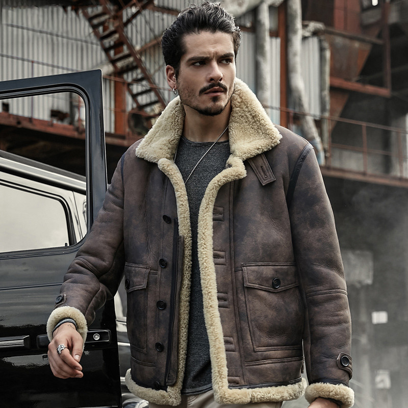 men genuine leather jacket sheepskin coat real leather jackets winter outerwear short design man fur coat short design shearling(China)