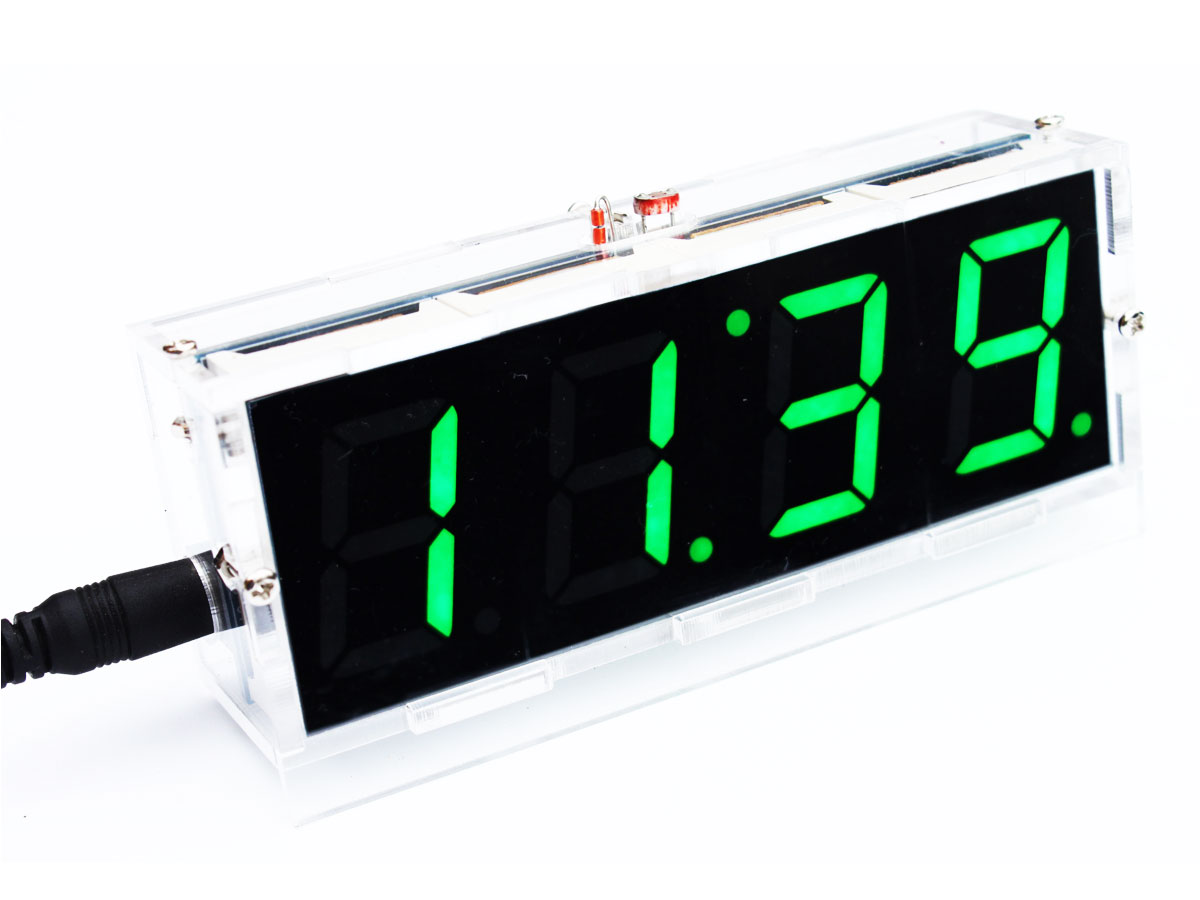 DIY Kit Green LED font b Electronic b font Clock Microcontroller Digital Clock Time Thermometer With