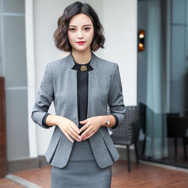 730ffee044 2019 Formal Elegante das Mulheres Verão saia e jaqueta formall blazer  conjunto terno de senhora do escritório profissional uniformes desgaste  Cinza