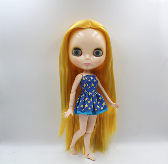 Blygirl Blyth doll Yellow straight hair joint body nude doll 19 joint body DIY doll can change makeup toys giftBlygirl Blyth doll Yellow straight hair joint body nude doll 19 joint body DIY doll can change makeup toys gift