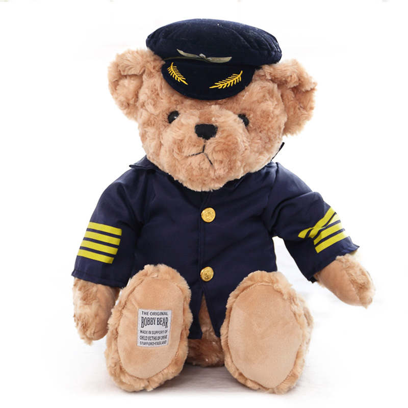 1pc 25cm  Cute Pilot Teddy Bear Plush Toy Captain Bear Doll Birthday Gift Kids Toy Baby Doll Stuffed Animal Toys for Children стоимость