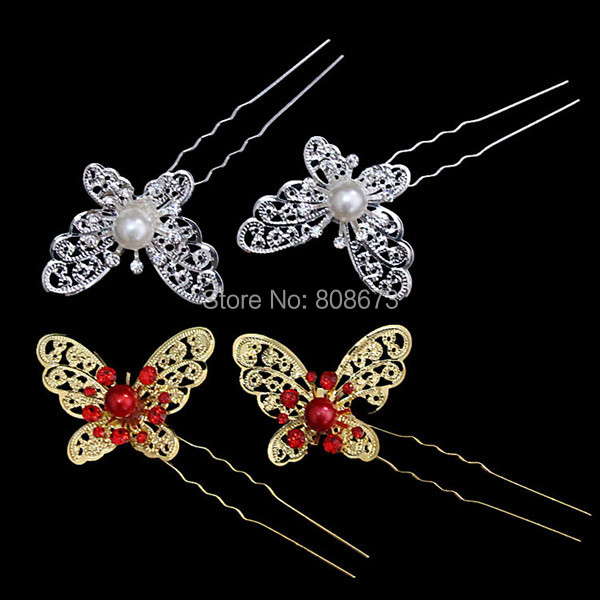 Gold Tone Nice Red Pearl And Crystal Butterfly Jewelry Accessory For Wedding Bridal Pretty Hair Jewelry