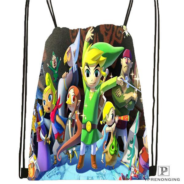 Custom The-Legend-Of-Zelda Drawstring Backpack Bag Cute Daypack Kids Satchel (Black Back) 31x40cm#20180611-02-55