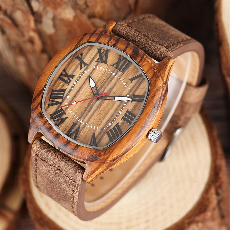 YISUYA Bamboo Wooden Watch Men Quartz Leather Band Analog Creative Watches Roman Numerals Dial Unqiue Shape Fashion Clock Gift (32)