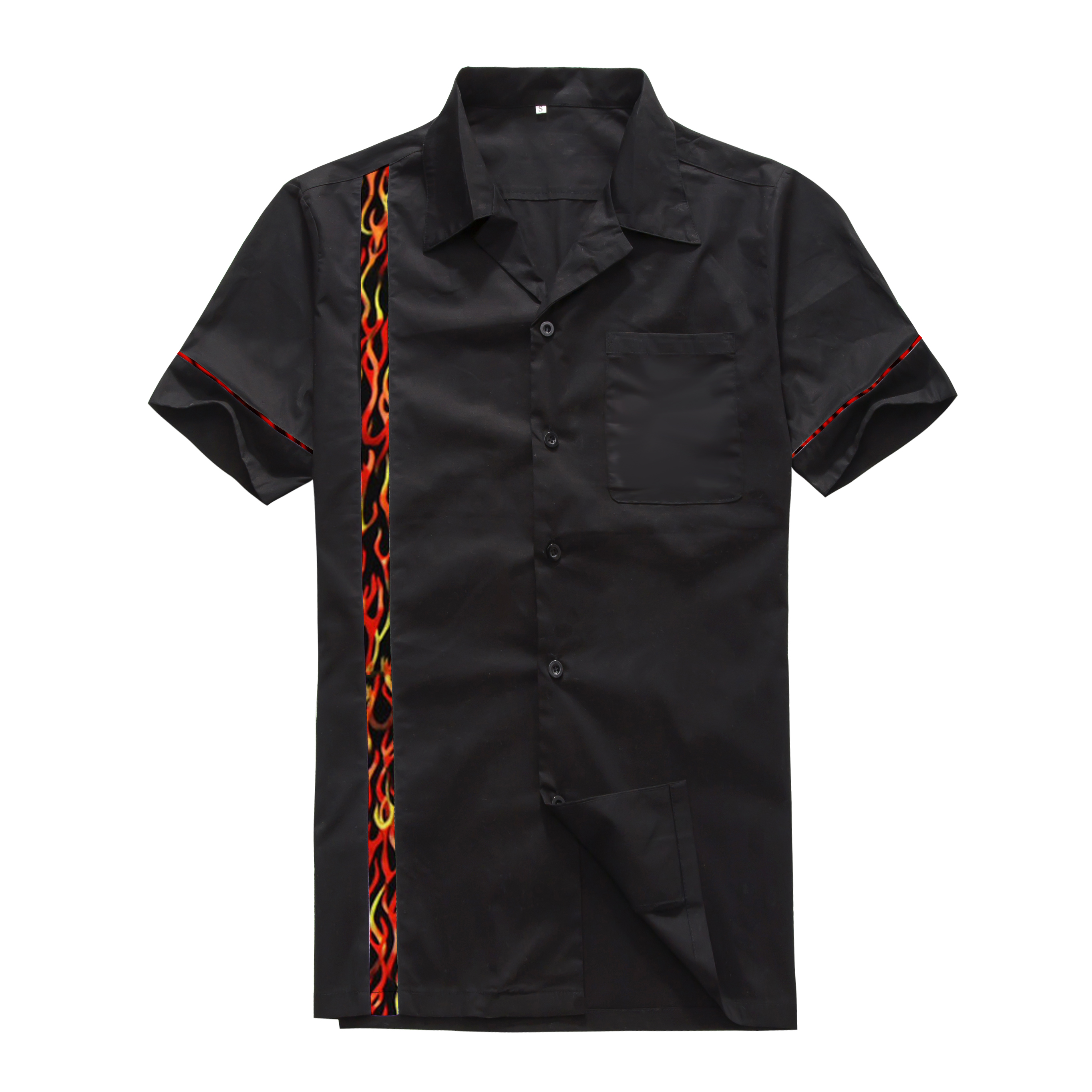 Shirt design new look - Candow Look Vintage Clothing Online Men S Cotton Short Sleeves 50s 60s Rockabilly New Designs Flame Panel