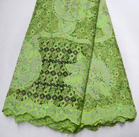 Latest Vogue High Quality Nigeria Retro Style African Guipure lace with sequins Retro Grass Green Guipure Wedding lace fabric