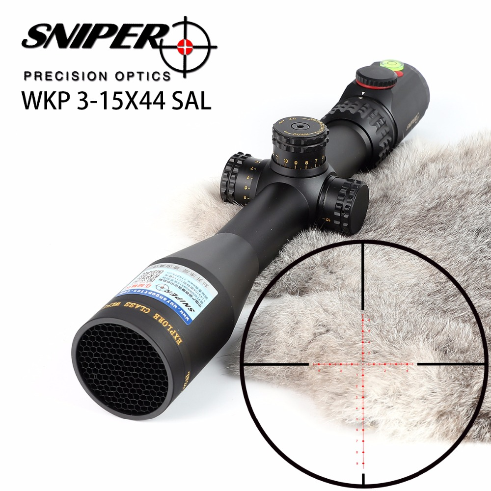 SNIPER WKP 3 15X44 SAL Hunting Rifle Scope Side Parallax Adjustment Glass Etched Reticle RG Illuminated