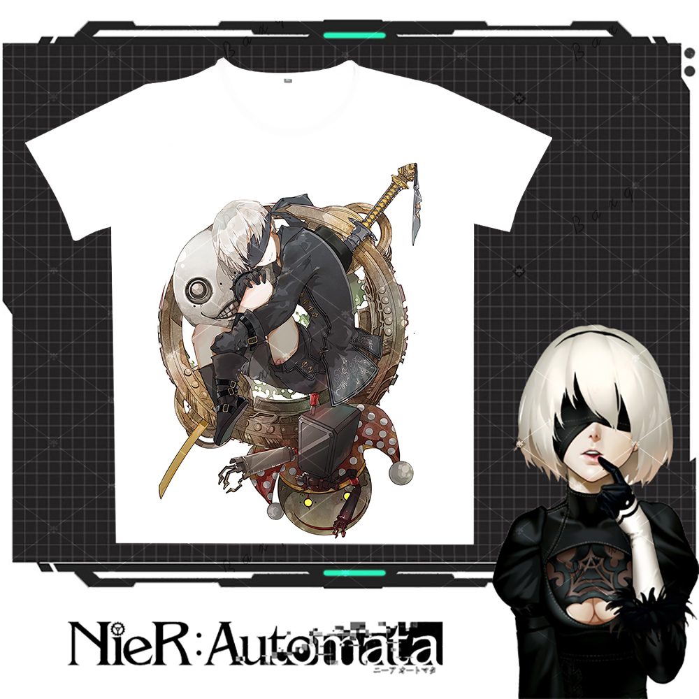 2017 New Arrive Games NieR:Automata Print T-shirts Milk Silk Short Sleeves Shirt TOP Cosplay Costume