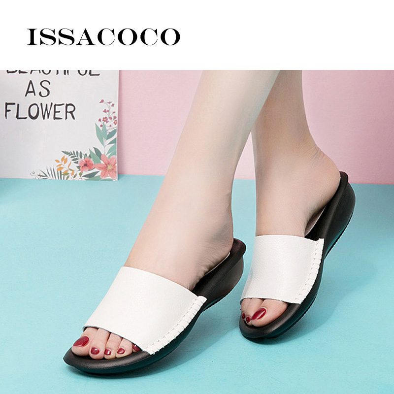 ISSACOCO Women 39 s Slippers Solid Color Leather Slippers Women 39 s Shoes Summer Thick Sole Beach Sandals Women Outer Slippers 35 41 in Slippers from Shoes