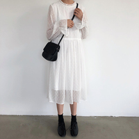 2019 Long White Chiffon Dress Flare Sleeve Korean Fashion Sweet See through Street Dresses Full Sleeve