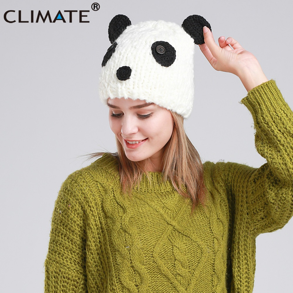 CLIMATE Halloween Costume Panda Beanie Hat Cap Panda Winter Warm Knitted Hat Beanie Women Cute Funny Panda Hallowmas Beanie Hat